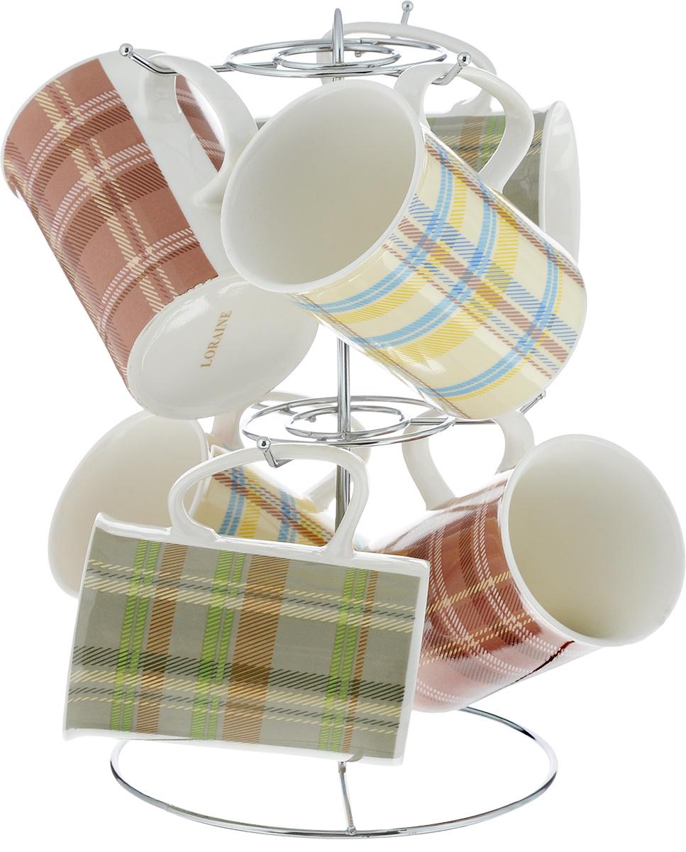 Набор кружек Loraine, на подставке, 320 мл, 7 предметов. 24204 сервиз чайный loraine на подставке 13 предметов 43285
