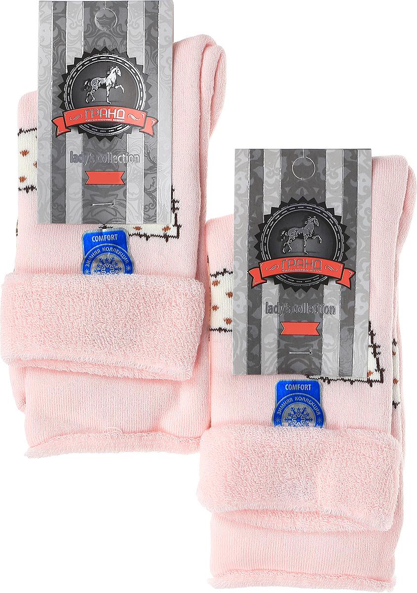 Купить Носки женские махровые Гранд, цвет: розовый, 2 пары. SCL79M. Размер 23/25