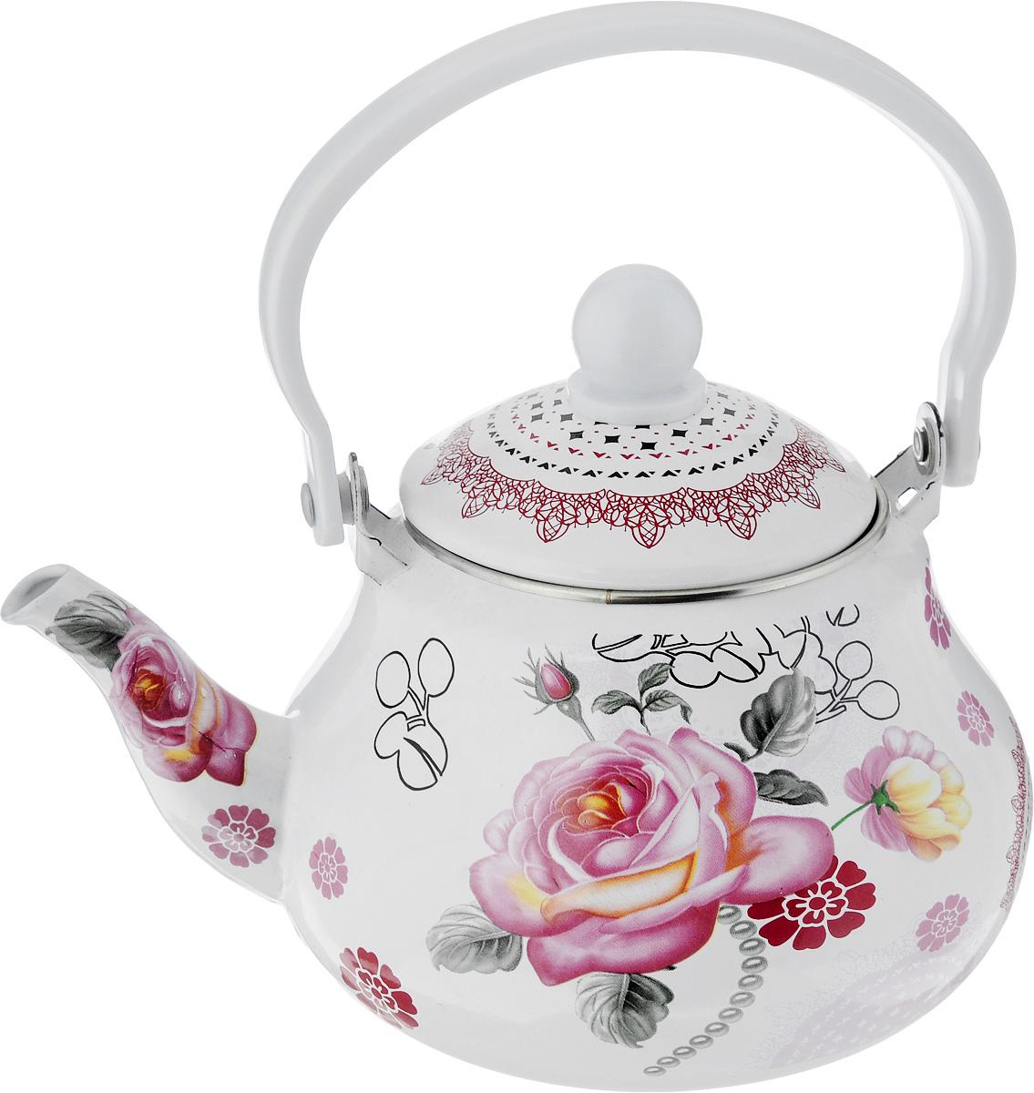 Чайник заварочный Mayer & Boch Роза, с фильтром, 1,5 л. 2398823988Заварочный чайник Mayer & Boch Роза изготовлен из углеродистой стали с эмалированным покрытием и оформлен изображением цветов. Покрытие устойчиво к механическому воздействию, не царапается и не сходит, а стальная основа практически не подвержена механической деформации, благодаря чему срок эксплуатации изделия увеличивается. Гладкая и идеально ровная поверхность обеспечивает легкую очистку. Изделие оснащено эргономичной ручкой, выполненной из бакелита. В комплект входит сетчатый фильтр из нержавеющей стали, который предотвращает попадание чаинок в чашку. Чайник поможет заварить крепкий ароматный чай и великолепно украсит стол к чаепитию. Изделие подходит для использования на всех типах плит, включая индукционные. Также изделие можно мыть в посудомоечной машине.Диаметр чайника (по верхнему краю): 9,5 см. Высота чайника (без учета крышки): 10,5 см.