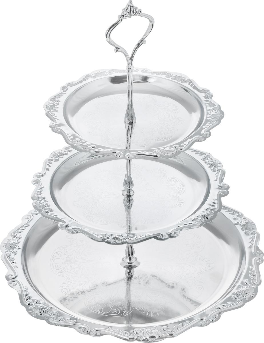 Ваза универсальная Mayer & Boch, 3-ярусная, высота 32 см20214Элегантная 3-ярусная ваза Mayer & Boch, выполненная из хромированного металла, предназначена для красивой сервировки фруктов и конфет. Легко собирается и разбирается. Такая ваза придется по вкусу и ценителям классики, и тем, кто предпочитает утонченность и изысканность. Она великолепно украсит праздничный стол и подчеркнет прекрасный вкус хозяина, а также станет отличным подарком.Диаметр большого блюда: 23 см. Диаметр среднего блюда: 21 см.Диаметр малого блюда: 18 см.Высота вазы: 32 см.