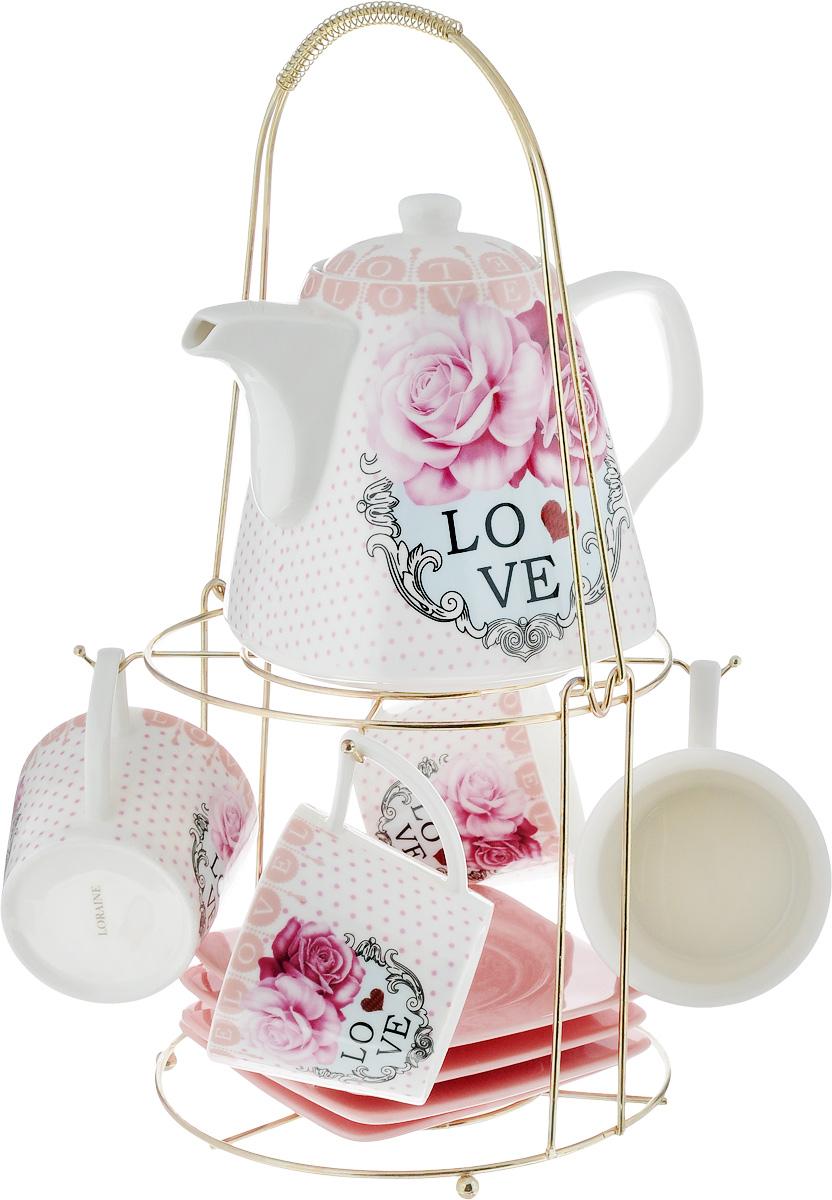 Набор чайный Loraine, на подставке, 10 предметов. 2472924729Чайный набор Loraine состоит из 4 чашек, 4 блюдец, заварочного чайника и подставки. Посуда изготовлена из качественной глазурованной керамики и оформлена изображением цветов. Блюдца и чашки имеют необычную фигурную форму. Все предметы располагаются на удобной металлической подставке с ручкой.Элегантный дизайн набора придется по вкусу и ценителям классики, и тем, кто предпочитает современный стиль. Он настроит на позитивный лад и подарит хорошее настроение с самого утра. Чайный набор Loraine идеально подойдет для сервировки стола и станет отличным подарком к любому празднику. Можно использовать в СВЧ и мыть в посудомоечной машине. Объем чашки: 250 мл. Размеры чашки (по верхнему краю): 8,5 х 8,2 см. Высота чашки: 7,5 см. Диаметр блюдца: 14 см. Высота блюдца: 1,5 см.Объем чайника: 1,1 л. Размер чайника (без учета ручки и носика): 13 х 13 х 13 см. Размер подставки: 18 х 18 х 37 см.