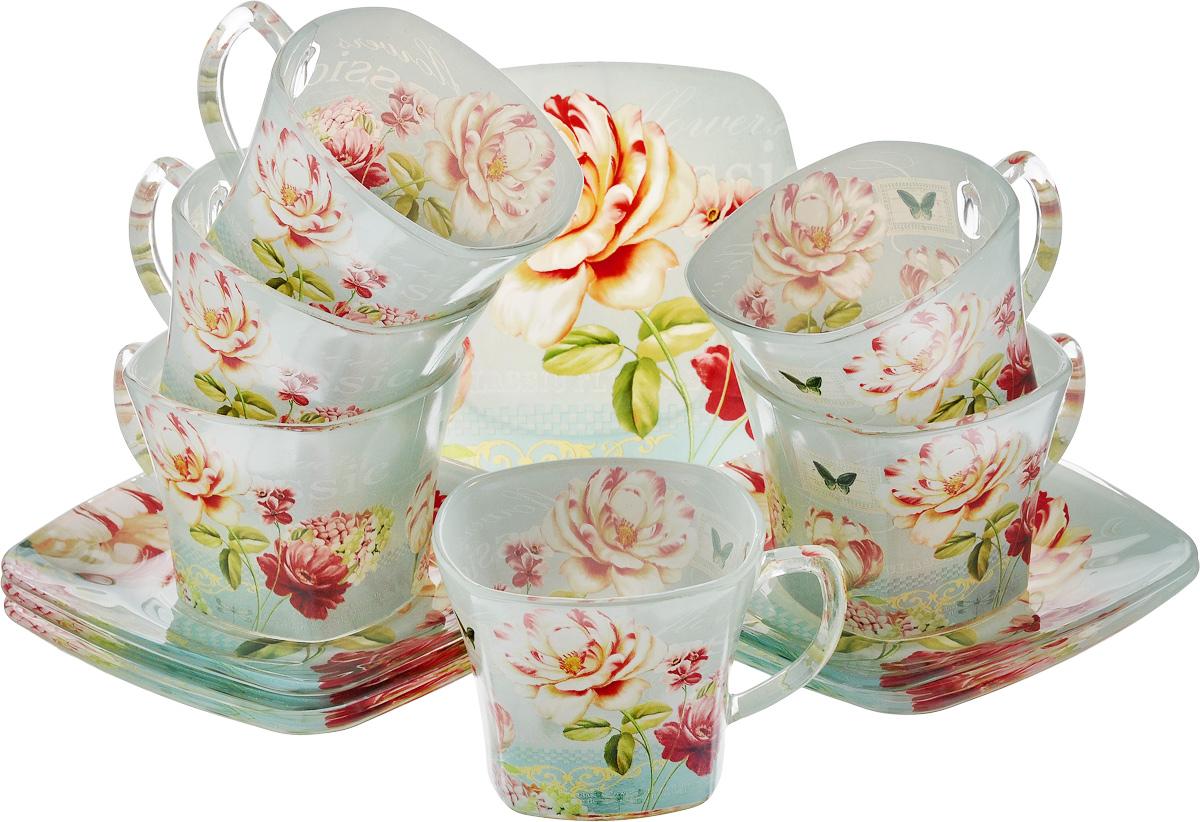 Набор чайный Loraine, цвет: зеленый, красный, бежевый, 12 предметов24127Чайный набор Loraine состоит из шести чашек и шести блюдец, выполненных из стекла. Изделия оформлены ярким рисунком. Изящный набор эффектно украсит стол к чаепитию и порадует вас функциональностью и ярким дизайном. Можно мыть в посудомоечной машине.Размеры чашки (по верхнему краю): 8 х 8 см.Высота чашки: 6,5 см.Объем чашки: 200 мл. Размеры блюдца: 13,2 х 13,2 см.Высота блюдца: 1,5 см.
