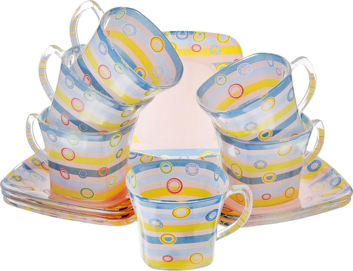 Набор чайный Loraine, цвет: голубой, розовый, желтый, 12 предметов24125Чайный набор Loraine состоит из шести чашек и шести блюдец, выполненных из стекла. Изделия оформлены ярким рисунком. Изящный набор эффектно украсит стол к чаепитию и порадует вас функциональностью и ярким дизайном. Можно мыть в посудомоечной машине.Размеры чашки (по верхнему краю): 8 х 8 см.Высота чашки: 6,5 см.Объем чашки: 200 мл. Размеры блюдца: 13,2 х 13,2 см.Высота блюдца: 1,5 см.