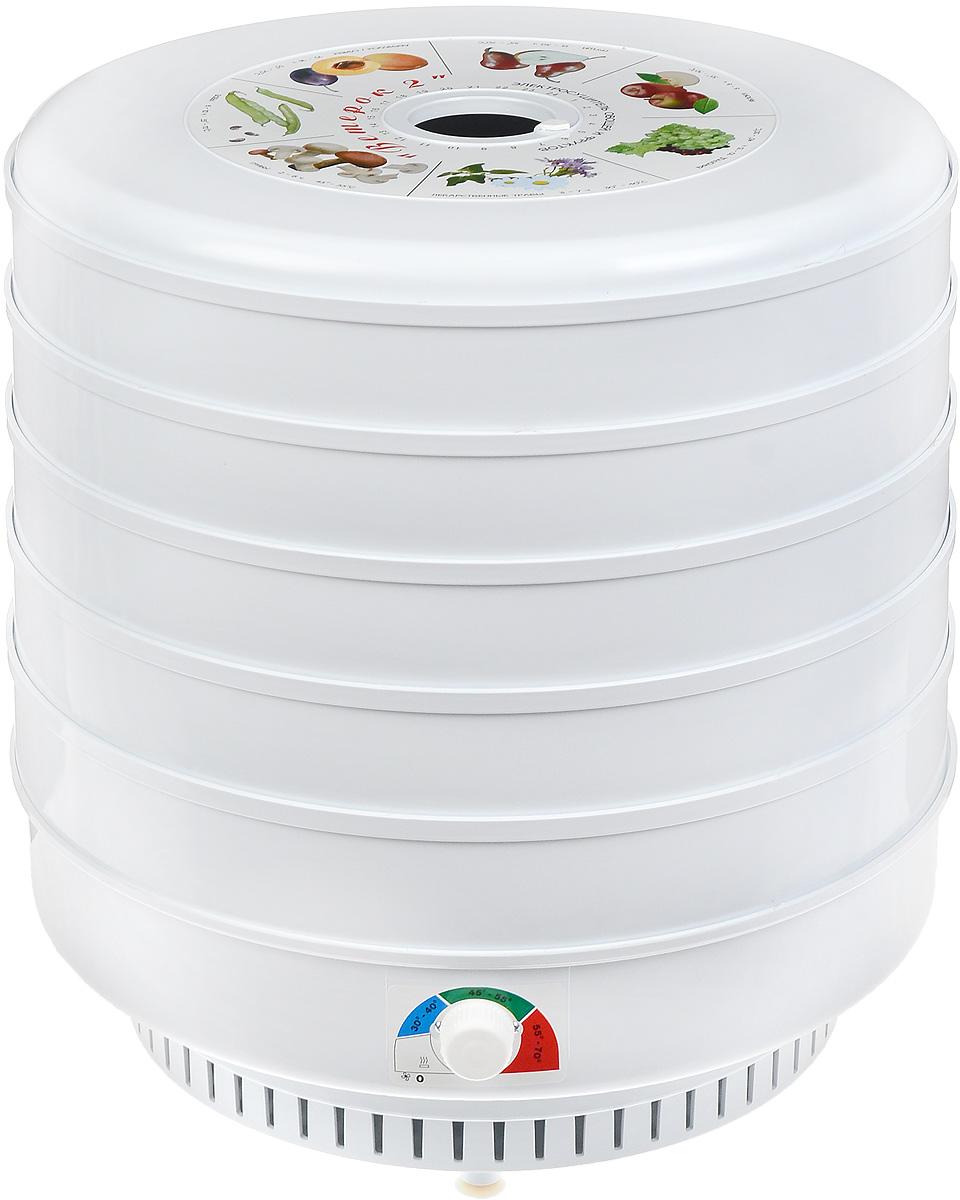 Ветерок 2ГФ, White сушилка для овощей и фруктовВетерок 2ГФ_5 поддоновЭлектросушитель для овощей и фруктов с пятью поддонами Ветерок-2 ЭСОФ-2-0,6/220 имеет большую емкость ихорошую производительность. Он предназначен для сушки плодов (яблоки, груши, вишни и т.д.), ягод, овощей,грибов, лекарственных растений, а также других продуктов (например сушка и вяление рыбы) в домашнихусловиях. Эффективность сушки составляет не менее 80% от массы исходного продукта при температуре от 30 до70°С и времени от 2 до 30 часов. В данном приборе также установлен вентилятор повышенной мощности. Термостат: есть Защита от перегрева: есть Терморегулятор: есть Режим работы: продолжительный Время непрерывной работы: 10 часов