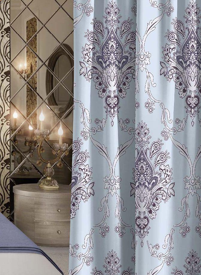 Штора Волшебная ночь Royalty, на ленте, цвет: голубой, высота 270 см. 705525705525Шторы коллекции Волшебная ночь - это готовое решение для вашего интерьера, гарантирующее красоту, удобство и индивидуальный стиль! Штора изготовлена из мягкой, приятной на ощупь ткани сатен, которая обеспечивает частичное затемнение и легко драпируется. Длина шторы регулируется с помощью клеевой паутинки (в комплекте). Изделие крепится на вшитую шторную ленту: на крючки или путем продевания на карниз. Дизайнеры марки Волшебная ночь предлагают уже сформированные комплекты штор из различных тканей и рисунков для создания идеальной композиции на окне. Для удобства выбора дизайны штор распределены в стилевые коллекции: этно, версаль, лофт, прованс. В коллекции Волшебная ночь к данной шторе вы также сможете подобрать шторы из других тканей: блэкаут (100% затемнение), габардин (частичное затемнение) и вуаль (практически нулевое затемнение), которые будут прекрасно сочетаться по дизайну и обеспечат особый уют вашему дому.