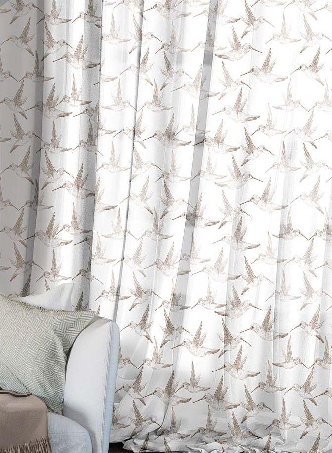 Комплект штор Волшебная ночь Hummingbird, на ленте, цвет: светло-коричневый, белый, высота 270 см, 2 шт704Шторы коллекции Волшебная ночь - это готовое решение для вашего интерьера, гарантирующее красоту, удобство и индивидуальный стиль! Шторы изготовлены из тонкой и легкой ткани вуаль, которая почти не препятствует прохождению света, но защищает комнату от посторонних взглядов. Длина штор регулируется с помощью клеевой паутинки (в комплекте). Изделия крепятся на вшитую шторную ленту: на крючки или путем продевания на карниз. Дизайнеры марки Волшебная ночь предлагают уже сформированные комплекты штор из различных тканей и рисунков для создания идеальной композиции на окне. Для удобства выбора дизайны штор распределены в стилевые коллекции: этно, версаль, лофт, прованс. В коллекции Волшебная ночь к данной шторе вы также сможете подобрать шторы из других тканей: блэкаут (100% затемнение), сатен и габардин (частичное затемнение), которые будут прекрасно сочетаться по дизайну и обеспечат особый уют вашему дому.