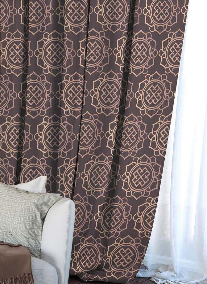 Штора Волшебная ночь Gilt, на ленте, цвет: коричневый, высота 270 см705523Шторы коллекции Волшебная ночь - это готовое решение для интерьера, гарантирующее красоту, удобство и индивидуальный стиль! Штора изготовлена из приятной на ощупь ткани габардин, которая плотно драпирует окно, но позволяет свету частично проникать внутрь. Длина шторы регулируется с помощью клеевой паутинки (в комплекте). Изделие крепится на вшитую шторную ленту: на крючки или путем продевания на карниз.