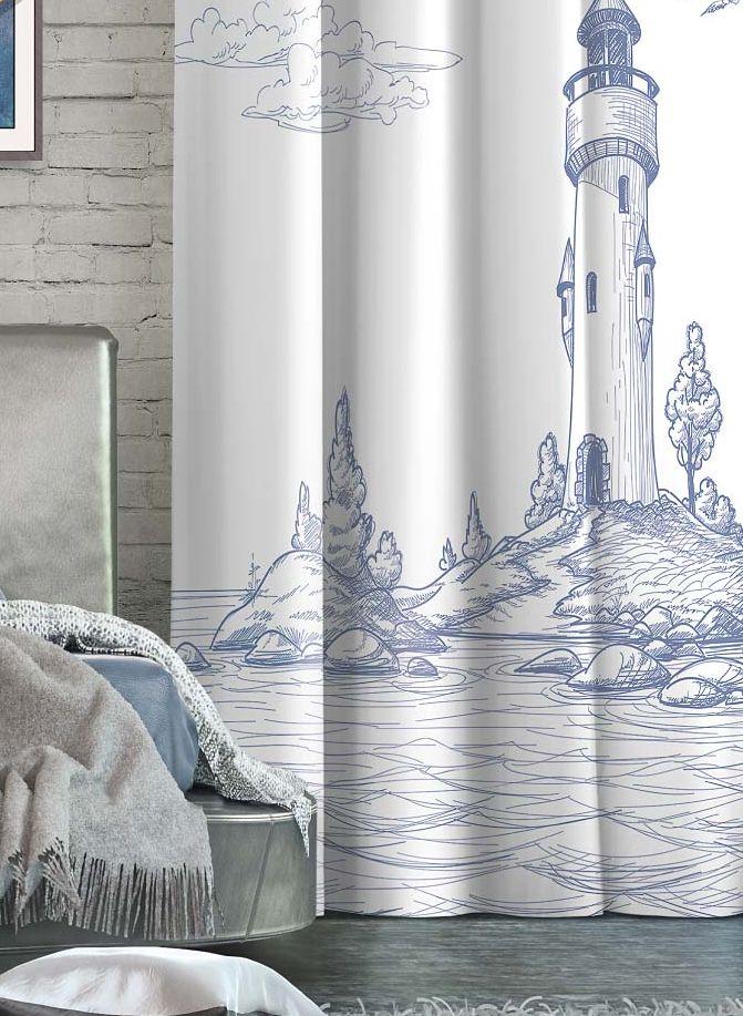 Штора Волшебная ночь Lighthouse, на ленте, цвет: серо-голубой, белый, высота 270 см. 705533705533Шторы коллекции Волшебная ночь - это готовое решение для интерьера, гарантирующее красоту, удобство и индивидуальный стиль! Штора изготовлена из мягкой, приятной на ощупь ткани сатен, которая обеспечивает частичное затемнение и легко драпируется. Длина шторы регулируется с помощью клеевой паутинки (в комплекте). Изделие крепится на вшитую шторную ленту: на крючки или путем продевания на карниз.