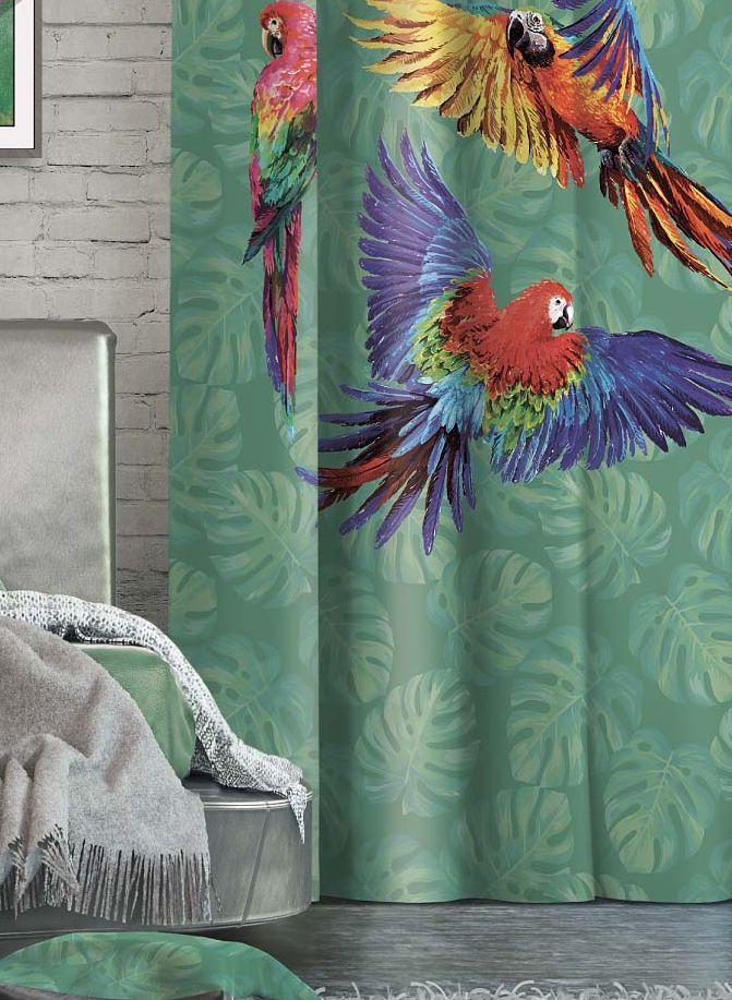 Штора Волшебная ночь Tropics, на ленте, цвет: синий, зеленый, красный, высота 270 см705511Шторы коллекции Волшебная ночь - это готовое решение для интерьера, гарантирующее красоту, удобство и индивидуальный стиль!Штора изготовлена из приятной на ощупь ткани габардин, которая плотно драпирует окно, но позволяет свету частично проникать внутрь. Длина шторы регулируется с помощью клеевой паутинки (в комплекте).Изделие крепится на вшитую шторную ленту: на крючки или путем продевания на карниз.