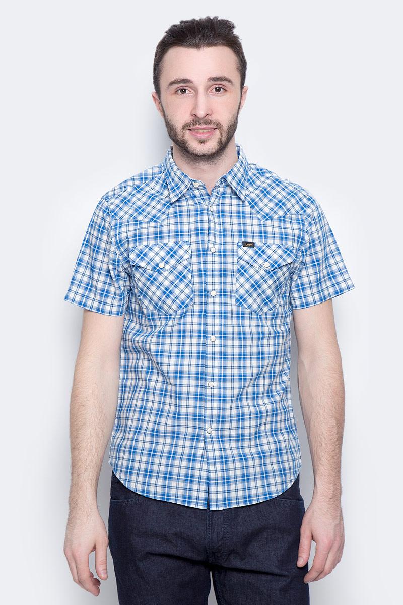 Рубашка мужская Lee Western Shirt, цвет: синий, белый. L640IDPS. Размер XXL (54)