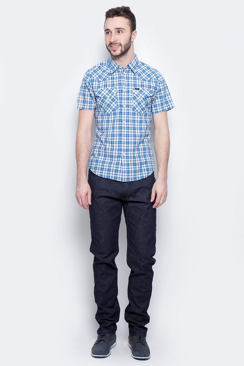 Рубашка мужская Lee Western Shirt, цвет: синий, белый. L640IDPS. Размер XXL (54) рубашка мужская lee cooper цвет темно зеленый lchmw044 размер xxl 54