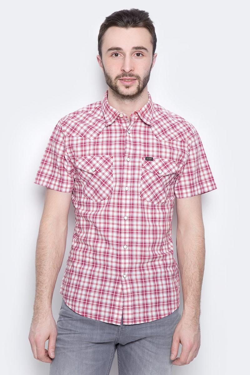Рубашка мужская Lee Western Shirt, цвет: белый, красный. L640IDSK. Размер XXL (54)L640IDSKМужская рубашка Lee Western Shirt изготовлена из натурального хлопка. Модель с короткими рукавами имеет на груди два накладных кармана под клапанами на кнопках. Рубашка застегивается на кнопки и верхнюю пуговицу. Низ модели слегка закруглен.