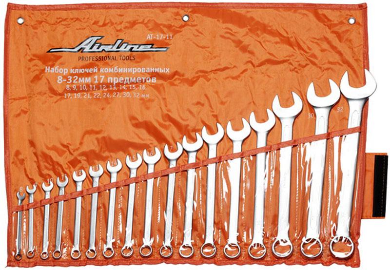 Набор ключей комбинированных Airline, 17 предметовAT-17-11стаНабор комбинированных ключей Airline станет отличным помощником монтажнику или владельцу авто. Этот набор обеспечит надежную фиксацию на гранях крепежа. Ключи изготовлены из хромованадиевой стали.В набор входят: Сумка для ключей; Ключи: 8, 9, 10, 11, 12, 13, 14, 15, 16, 17, 19, 21, 22, 24, 27, 30, 32 мм.