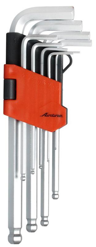 Набор ключей шестигранных Airline, с шаром, 1,5 мм - 10 мм, 9 штAT-9-16Набор Airline состоит из 9 шестигранных ключей с шаром выполненных из хром-ванадиевой стали. Ключи в процессе производства подвергается закалке и отпуску и имеют финишное покрытие - хромирование. Удобный пластиковый подвес гарантирует порядок на рабочем месте.В набор входят ключи: 1,5 мм, 2 мм, 2,5 мм, 3 мм, 4 мм, 5 мм, 6 мм, 8 мм, 10 мм.