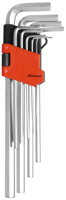 Набор ключей шестигранных Airline, удлиненных, 1,5 мм - 10 мм, 9 штAT-9-18Набор Airline состоит из 9 удлиненных шестигранных ключей выполненных из хром-ванадиевой стали. Ключи в процессе производства подвергается закалке и отпуску и имеют финишное покрытие - хромирование.Удобный пластиковый подвес гарантирует порядок на рабочем месте.В набор входят ключи: 1,5 мм, 2 мм, 2,5 мм, 3 мм, 4 мм, 5 мм, 6 мм, 8 мм, 10 мм.