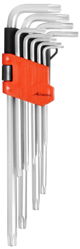 Набор ключей шестигранных Airline Torx, Г-образных, с отверстием, удлиненных, 9 предметовAT-9-21Набор Airline состоит из 9 удлиненных Г-образных ключей с отверстием выполненных из хром-ванадиевой стали. Ключи в процессе производства подвергается закалке и отпуску и имеют финишное покрытие - хромирование. Удобный пластиковый подвес гарантирует порядок на рабочем месте.В набор входят ключи: Т10, Т15, Т20, Т25, Т27, Т30, Т40, Т45, Т50.