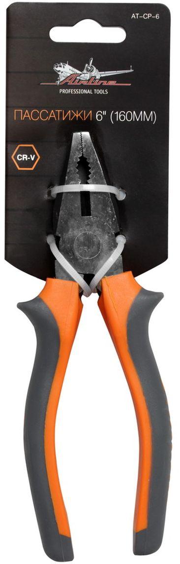 Пассатижи Airline, длина 16 смAT-CP-6Пассатижи Airline изготовлены из специальной высококачественной инструментальной стали. При производстве заготовки подвергаются закалке и отпуску, для улучшения рабочих характеристик инструментов. Режущие кромки подвергаются индукционной закалке. Применяется финишное покрытие двух типов: хромирование и фосфатирование. Рукоятки инструмента создают комфортное ощущение при работе, а специальная форма гарантирует безопасность труда и снижение усталости при работе.Размер: 6 (16 см).