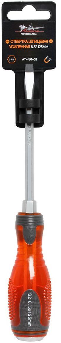Отвертка шлицевая Airline, усиленная под ключ, 6,5 х 125 ммAT-IS6-02Отвертка шлицевая Airline предназначена для монтажа/демонтажа резьбовых соединений с применением значительных усилий.Лезвие отвертки изготовлено из хром-ванадиевой стали, жало подвержено индукционной закалке и фосфатировано. Лезвие усиленных отверток изготовлено из особо прочной стали S2. Под рукояткой имеется усиление под ключ, а сверху пятак для передачи ударных нагрузок. Сочетание твердых и мягких элементов рукоятки оптимально распределяет усилие, прилагаемое к инструменту, и предотвращает проскальзывание. Размер отвертки: 6,5 х 125 мм.