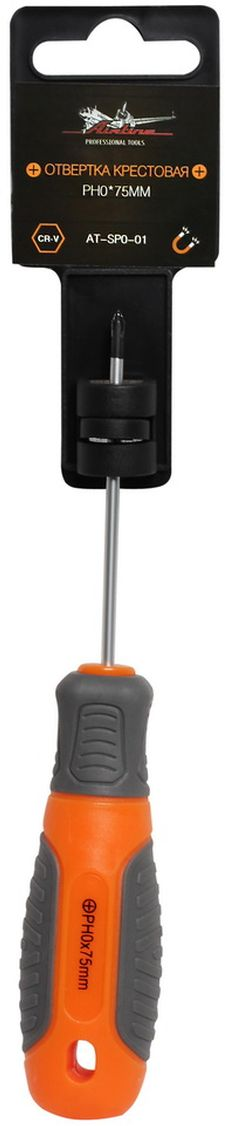 Отвертка крестовая Airline, с эргономичной рукояткой, PH0 х 75 ммAT-SP0-01Отвертка крестовая Airline предназначена для монтажа/демонтажа резьбовых соединений с применением значительных усилий.Лезвие отвертки изготовлено из хром-ванадиевой стали, жало подвержено индукционной закалке и фосфатировано. Лезвие усиленных отверток шестигранной формы, изготовлено из особо прочной стали S2. Сочетание твердых и мягких элементов рукоятки оптимально распределяет усилие, прилагаемое к инструменту, и предотвращает проскальзывание. Отвертка удобно подвешивается за специальное отверстие.Размер отвертки: PH0 х 75 мм.