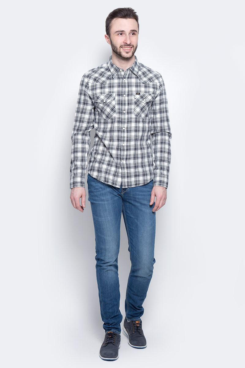 Рубашка мужская Lee Western Shirt, цвет: черный, белый. L643IA01. Размер XL (52)L643IA01Мужская рубашка Lee Western Shirt изготовлена из натурального хлопка. Модель с короткими рукавами имеет на груди два накладных кармана под клапанами на кнопках. Рубашка застегивается на кнопки и верхнюю пуговицу. Низ модели слегка закруглен.