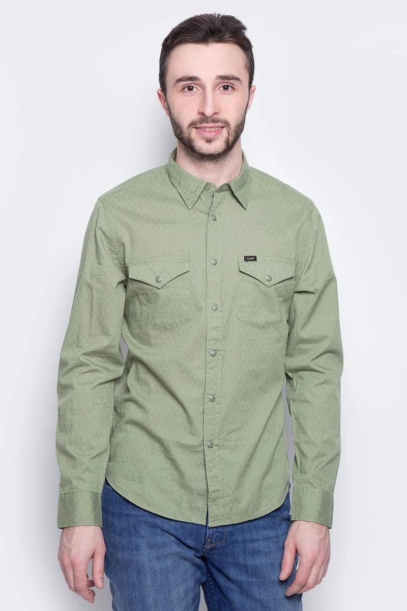 Рубашка мужская Lee Western Shirt, цвет: хаки. L644IBSN. Размер M (48)