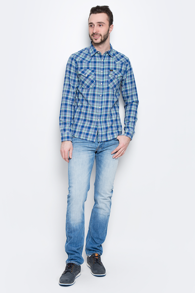 Рубашка мужская Lee, цвет: синий, мятный. L643IASF. Размер XXL (54) рубашка мужская lee cooper цвет темно зеленый lchmw044 размер xxl 54