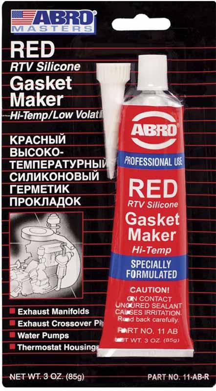 Герметик прокладок Abro, цвет: красный, 85 г11-ABМногоцелевые герметики прокладок предназначены для ремонта или замены почти всех встречающихся в автомобиле прокладок.Свойства:—Герметик ABRO принимает любую форму и успешно выдерживает сжатие, растяжение и сдвиг; —Совершенно не разрушается под действием автомобильных масел, воды и антифриза. —Обладает высокой стойкостью к бензину и тормозной жидкости. —Более мягкий герметик прокладок Blue (синий), также как Clear и Black (прозрачный, черный), предназначен для применения при температурах до 260°С, в то время как герметик прокладок Red (красного цвета) разработан для более высоких температур до 343°С.
