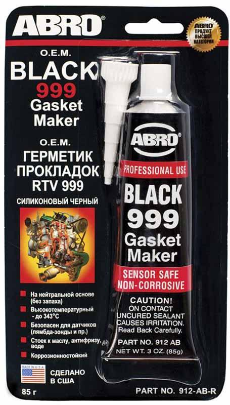 """Герметик прокладок Abro """"999"""", силиконовый, цвет: черный, 85 г 912-AB"""