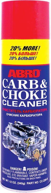Очиститель карбюратора Abro, 340 г + 20%CC-220Очиститель растворяет и удаляет углеродистые отложения, нагар, масло и прочие загрязнения с дроссельных заслонок, карбюратора и прочих деталей топливной системы. Подходит для карбюраторных и инжекторных двигателей (EFI, MPI, GDI, FSI и т. д.). Использование очистителя карбюратора и дроссельных заслонок позволяет снизить расход топлива, улучшить запуск двигателя, восстановить стабильность холостых оборотов. При использовании бензина низкого качества рекомендуется использовать очиститель карбюратора каждые 7000–10 000 км. Помимо основного предназначения можно использовать для очистки любых маслянистых загрязнений, нагара, смазки.