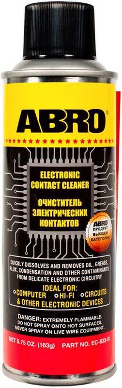 Очиститель электрических контактов Abro, 163 гEC-533Очиститель удаляет масло, жир, грязь, окислы и влагу с электрических контактов, переключателей, розеток, электроплат, измерительных приборов и т. д. Не оставляет сухого остатка, безопасен для большинства пластмасс. Предотвращает ухудшение электросигнала и закисание электроконтактов.Идеально подходит для электрических блоков и контактов в автомобиле и дома, компьютеров, аудио- и видеотехники, а также любых других электрических приборов и устройств.