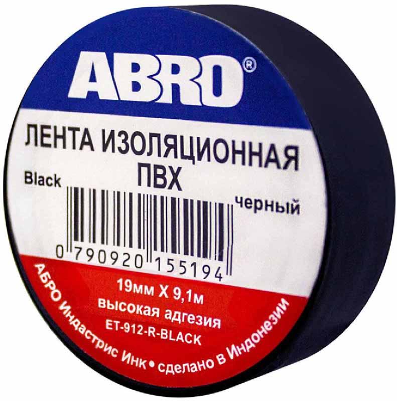 Изолента Abro, цвет: черный, 19 мм х 9,1 мET-912-BLKИзоляционная лента выполнена из ПВХ и представляет собой расходный материал, предназначенный для обмотки проводов и кабелей с целью их электроизоляции. Изолента изготавливается из поливинилхлоридной пленки с нанесенным на нее клеевым слоем и полностью соответствует ГОСТу. Также изолента имеет высокую силу адгезии. Длина ленты: 9,1 м.Ширина ленты: 19 мм.