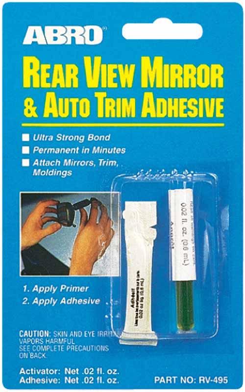 Клей зеркала заднего вида Abro, 6 млRV-495Особо прочный и быстросхватывающийся клей. Помимо основного предназначения может применяться во всех случаях соединений металл-стекло, металл-металл, стекло-стекло.