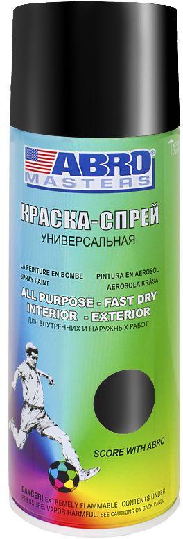 Краска-спрей Abro Masters, цвет: черный глянцевый. SP-011-AMSP-011-AMКраска-спрей применяется для окраски металлических и деревянных поверхностей различных предметов. Используется как для внутренних (домашних), так и наружных работ. После высыхания не токсична.