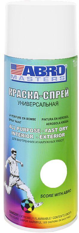 Краска-спрей Abro Masters, цвет: белый грунтSP-015-AMКраска-спрей применяется для окраски металлических и деревянных поверхностей различных предметов. Используется как для внутренних (домашних), так и наружных работ. После высыхания не токсична.