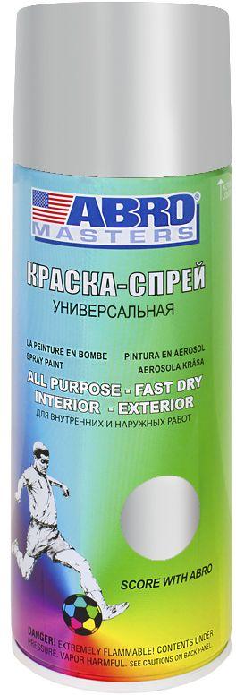 Краска-спрей Abro Masters, цвет: алюминиевый. SP-026-AMSP-026-AMКраска-спрей применяется для окраски металлических и деревянных поверхностей различных предметов. Используется как для внутренних (домашних), так и наружных работ. После высыхания не токсична.