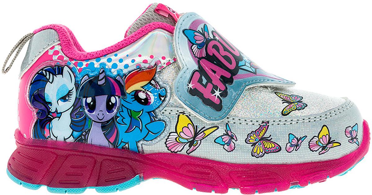 Кроссовки для девочки Kakadu My Little Pony, цвет: серебристый, малиновый. 6739B. Размер 246739BСтильные кроссовки My Little Pony от Kakadu - отличный выбор для вашей малышки на каждый день. Верх модели выполнен из синтетической кожи. Кроссовки оформлены принтом с изображением персонажей мультсериала My Little Pony. Широкий ремешок на застежке-липучке обеспечивает надежную фиксацию обуви на ноге. Подкладка из хлопкового материала создает комфорт при носке. Съемная стелька удобна в эксплуатации и позволяет быстро просушивать обувь. Подошва выполнена из резины. Светодиодная подсветка подошвы приведет в восторг юную модницу. Рифление на подошве обеспечивает отличное сцепление с любой поверхностью.Модные и комфортные кроссовки - необходимая вещь в гардеробе каждого ребенка.