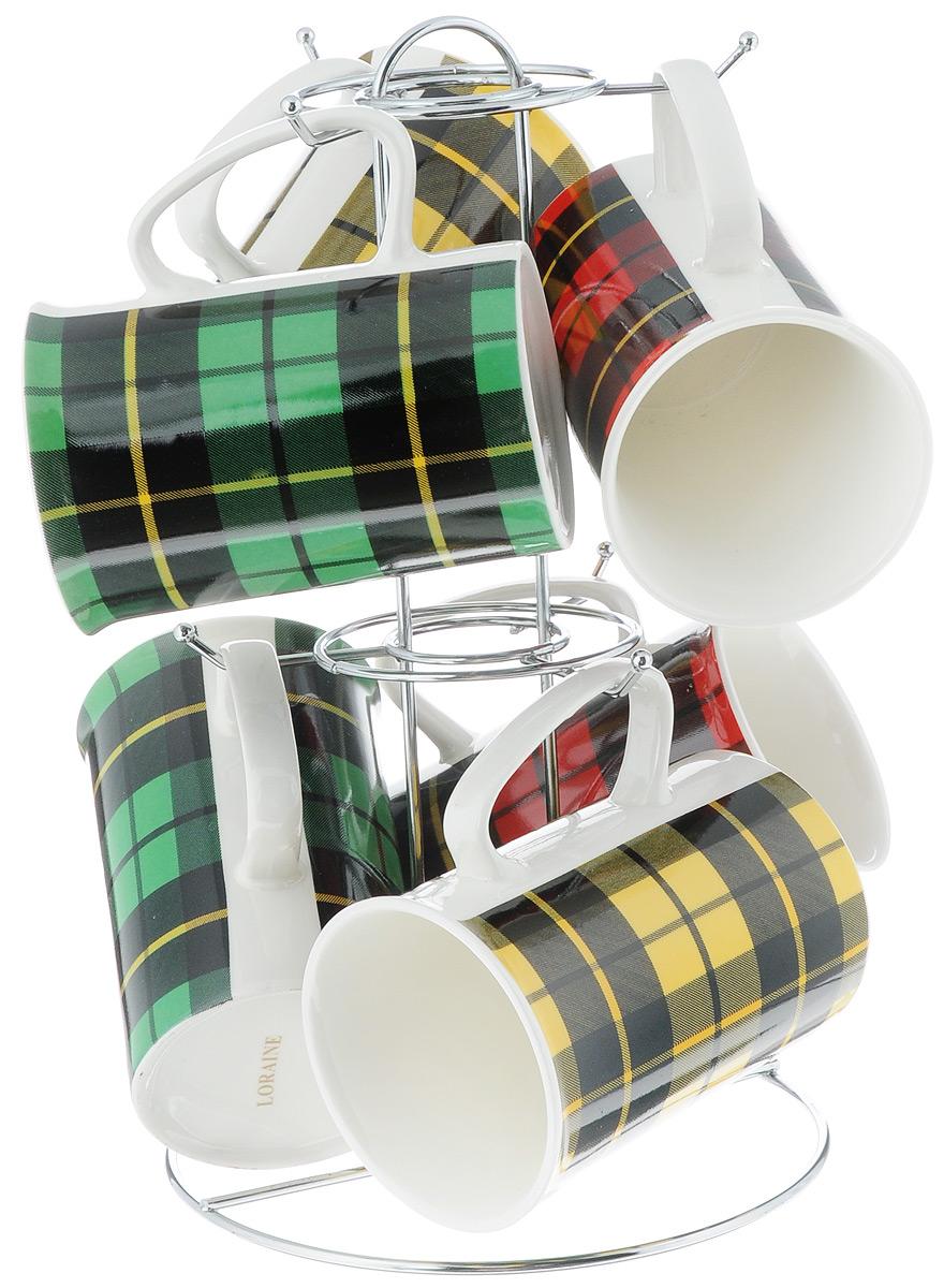 Набор кружек Loraine, на подставке, 320 мл, 7 предметов. 24206 набор кружек loraine цвет зеленый черный 5 предметов 24210 зеленый