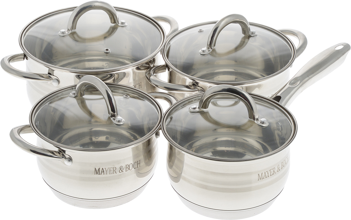 Набор посуды Mayer & Boch с крышками, 8 предметов. 2404024040Набор посуды Mayer & Boch, выполненный из нержавеющей стали, состоит из четырех кастрюль и сотейника. Изделия имеют прочное 9-слойное капсульное дно, что обеспечивает равномерное распределение тепла. Ручки из нержавеющей стали надежно крепятся к корпусу емкостей. Крышки из термостойкого стекла позволяют следить за процессом приготовления пищи без потери тепла. Они оснащены металлическим ободом и отверстием для выхода пара. Эргономичный дизайн и функциональность набора Mayer & Boch позволят вам наслаждаться процессом приготовления любимых блюд. Изделия подходят для использования на всех типах плит, кроме индукционных.Можно мыть в посудомоечной машине. Диаметр кастрюль (по верхнему краю): 16 см; 18 см; 20 см. Ширина кастрюль (с учетом ручек): 24 см; 26,5 см; 28,5 см.Высота стенки кастрюль: 10,5 см; 12 см; 12,5 см. Объем кастрюль: 2 л; 2,8 л; 3,8 л. Диаметр сотейника (по верхнему краю): 16 см. Высота сотейника: 10,5 см.Длина ручки сотейника: 17 см. Объем ковша: 2 л.