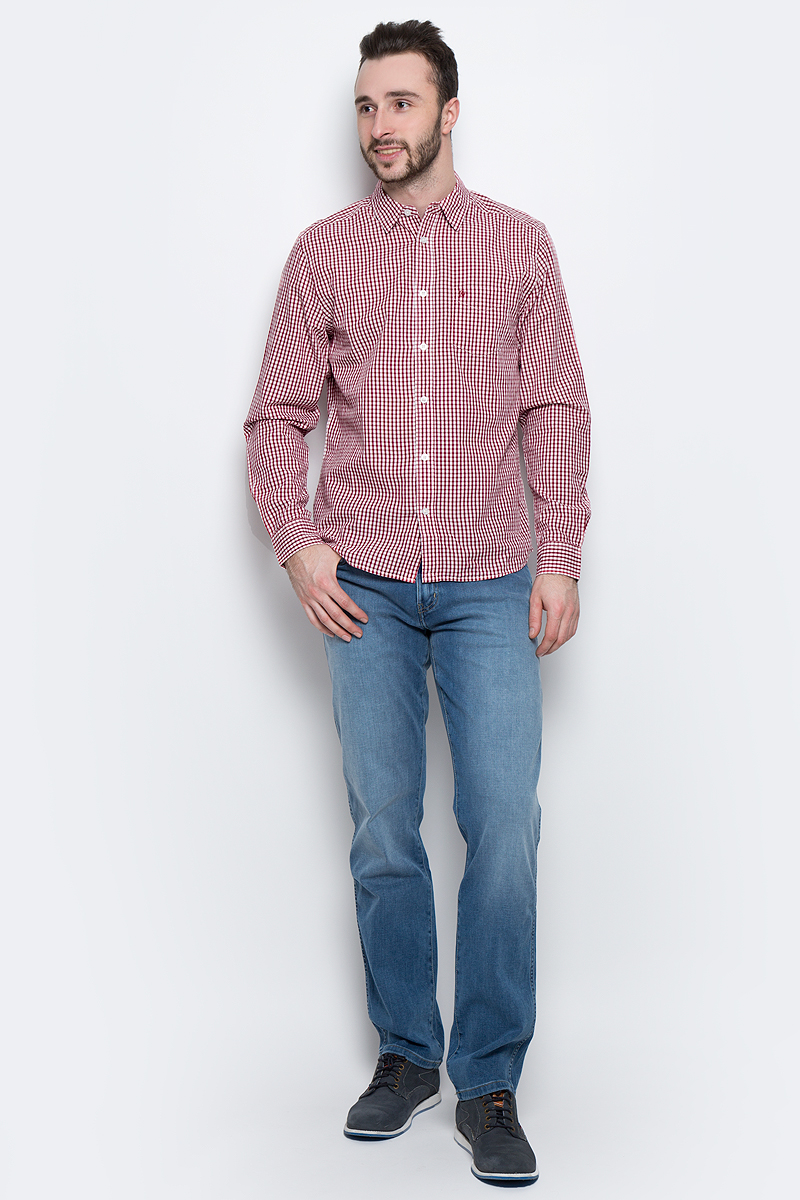 Рубашка мужская Wrangler L/S 1 PKT Shirt, цвет: красный, белый. W5760L447. Размер M (48) рюкзак zipit zshl pkt pink