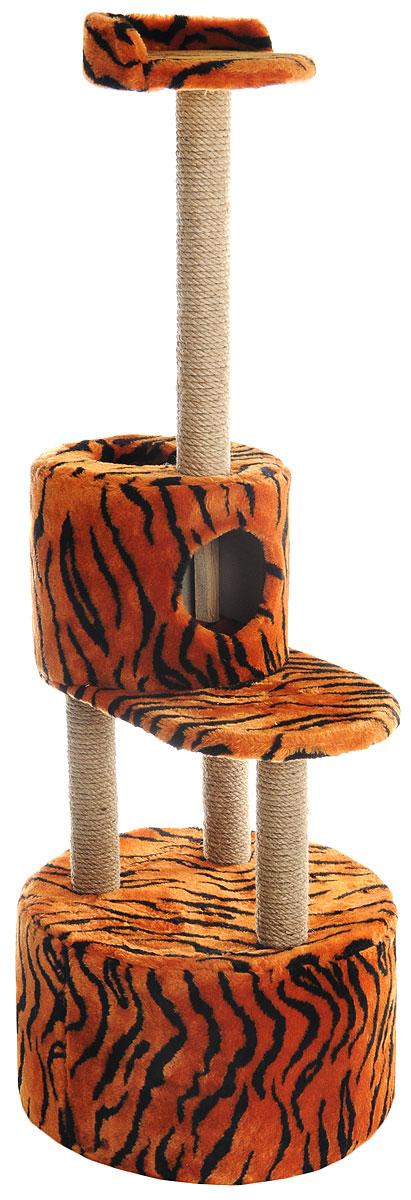 Домик-когтеточка Меридиан, круглый, с площадкой и полкой, цвет: оранжевый, черный, бежевый, 55 х 50 х 147 смД551ТДомик-когтеточка Меридиан выполнен из высококачественных материалов.Изделие предназначено для кошек. Оно включает в себя 2 домика разных размеров и 2 полки. Изделие обтянуто искусственным мехом, а столбики изготовлены из джута. Ваш домашний питомец будет с удовольствием точить когти о специальные столбики. Места хватит для нескольких питомцев. Домик-когтеточка Меридиан принесет пользу не только вашему питомцу, но и вам, так как он сохранит мебель от когтей и шерсти.Общий размер: 55 х 50 х 147 см. Размер большого домика: 50 х 50 х 29 см.Размер малого домика: 33 х 33 х 29 см.Размер нижней полки: 55 х 34 см.Размер верхней полки: 27 х 27 см.