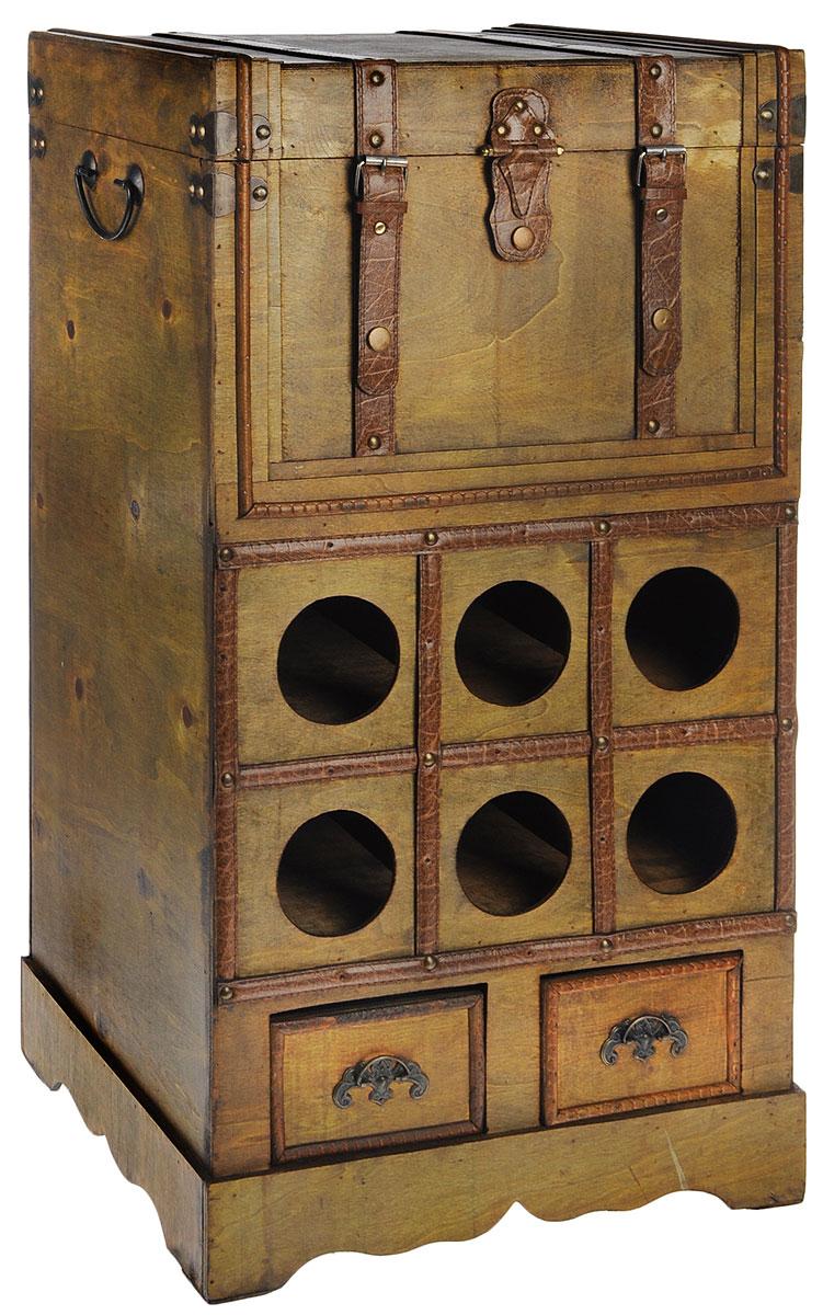Сундук-бар Roura Decoracion, 40 х 30 х 75 см34313Сундук-бар Roura Decoracion изготовлен из прочного дерева в виде старинного сундука. Отделка металлическими и кожаными элементами делает этот сундук настоящим шедевром - предметом роскоши, уюта, стиля и статуса. Внутренняя поверхность отделана бархатистым текстилем. В сундуке предусмотрено основное отделение, которое закрывается с помощью хлястика с кнопкой и дополнительно фиксируется двумя ремешками на кнопках. Два выдвижных ящика внизу сундука отлично подойдут для хранения небольших стопок, закусок и всевозможных аксессуаров. В центре сундука предусмотрены специальные отделения для хранения винных бутылок. Таким образом, сундук-бар позволяет компактно разместить вашу алкогольную коллекцию и роскошно презентовать ее своим гостям. Сундук-бар оригинально дополнит интерьер современной квартиры. Он не только внесет новый штрих в привычную обстановку, но и позволит вдохнуть некий шарм, возродить романтику путешествий, создать удивительную атмосферу уютной роскоши.