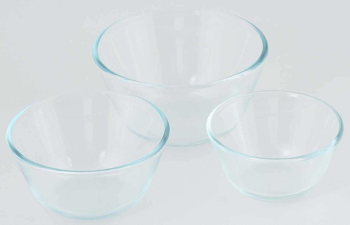 """Набор """"Helper"""" состоит из трех мисок разного объема. Миски  изготовлены из термостойкого боросиликатного стекла,  обладают устойчивостью к химическим и ударным  воздействиям, высокой термической стойкостью,  выдерживают перепад температур до 220°С. Такая посуда  безопасна с точки зрения экологии. Она не вступает в  реакцию с готовящейся пищей, не боится кислот и солей, не  ржавеет, на ней не появляется накипь, она не впитывает  запахи и жир.  Прозрачность и абсолютная экологичность посуды из  термостойкого стекла изменит приготовление даже самых  изысканных блюд, а простота ухода, красота и лаконичность  форм сделает ее прекрасным подарком.  Стеклянная огнеупорная посуда идеальна для приготовления  блюд в духовке, микроволновой печи, а также для хранения  продуктов в холодильнике и морозильной камере. Можно  мыть в посудомоечной машине.  Объем мисок: 400 мл; 650 мл; 1,25 л.  Диаметр мисок (по верхнему краю): 12,5 см; 14,5 см; 17 см.  Высота стенок мисок: 6,5 см; 7,5 см; 9,5 см."""