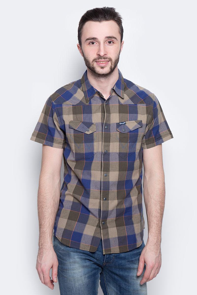Рубашка мужская Wrangler Heritage Western, цвет: синий, хаки. W5873CQIX. Размер XXL (54)
