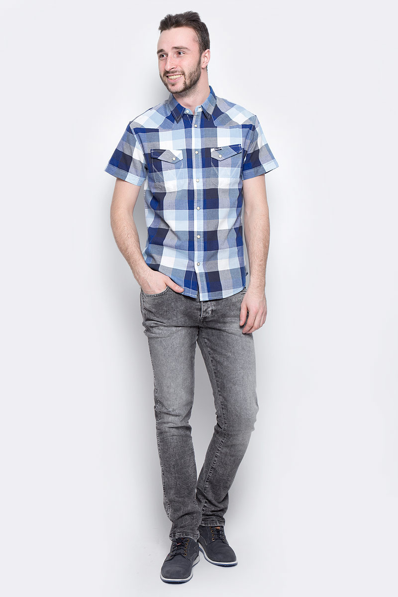 Рубашка мужская Wrangler Heritage Western, цвет: синий, белый, голубой. W5873LE43. Размер XL (52) рубашки wrangler рубашка western
