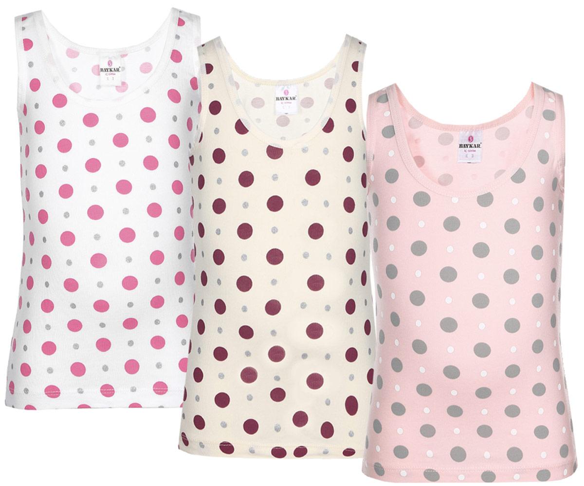 Майка для девочки Baykar, цвет: молочный, розовый, белый, 3 шт. N4735-22. Размер 146/152N4735-22Майка для девочки Baykar великолепно подойдет для повседневной носки. Майка выполнена из эластичного хлопка, она необычайно мягкая и приятная на ощупь, не раздражает нежную кожу ребенка и хорошо вентилируется. Эластичные швы приятны телу и не препятствуют движениям. Классическая майка с круглым вырезом горловины и лямками оформлена принтом в горошек. В комплект входят три майки разных цветов.