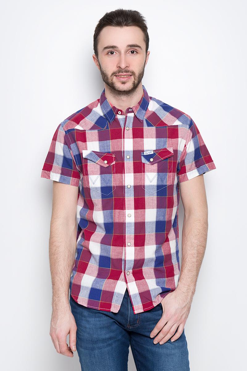 Рубашка мужская Wrangler Heritage Western, цвет: красный, белый, синий. W5873CQ57. Размер L (50)