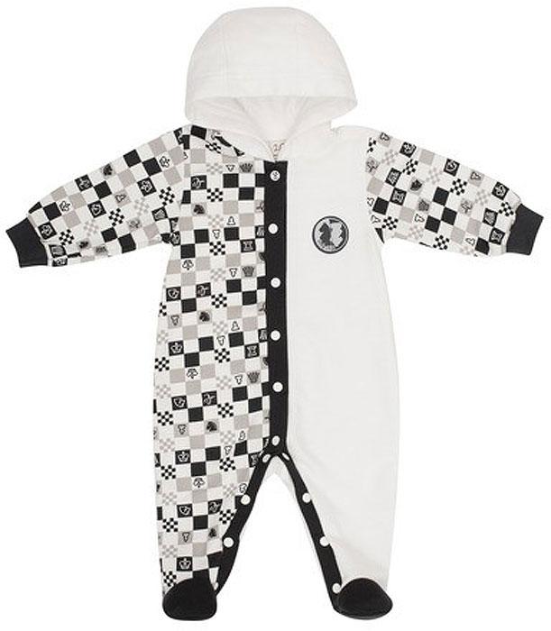 Комбинезон детский Lucky Child Шахматный турнир, цвет: молочный, темно-серый, бежевый. 29-3ф. Размер 80/86 пижамы lucky child пижама