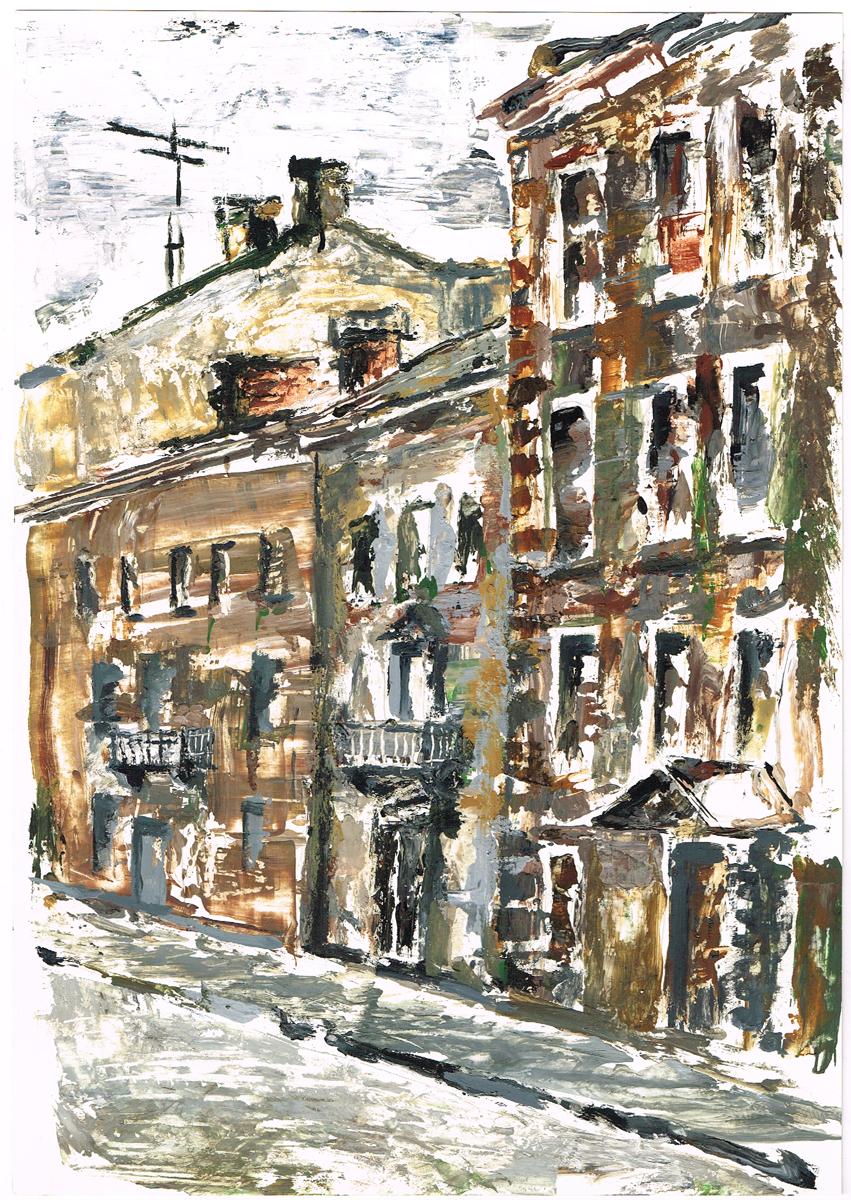 Дома на Миллионной улице. Гуашь, рисунок. Россия, 2000-е гг.