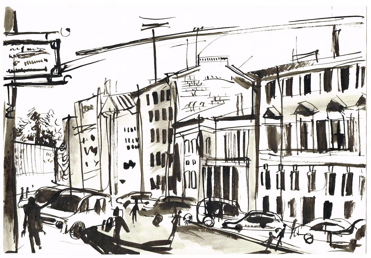 Вид на Миллионную улицу. Рисунок. Тушь. Россия, 2000-е гг.
