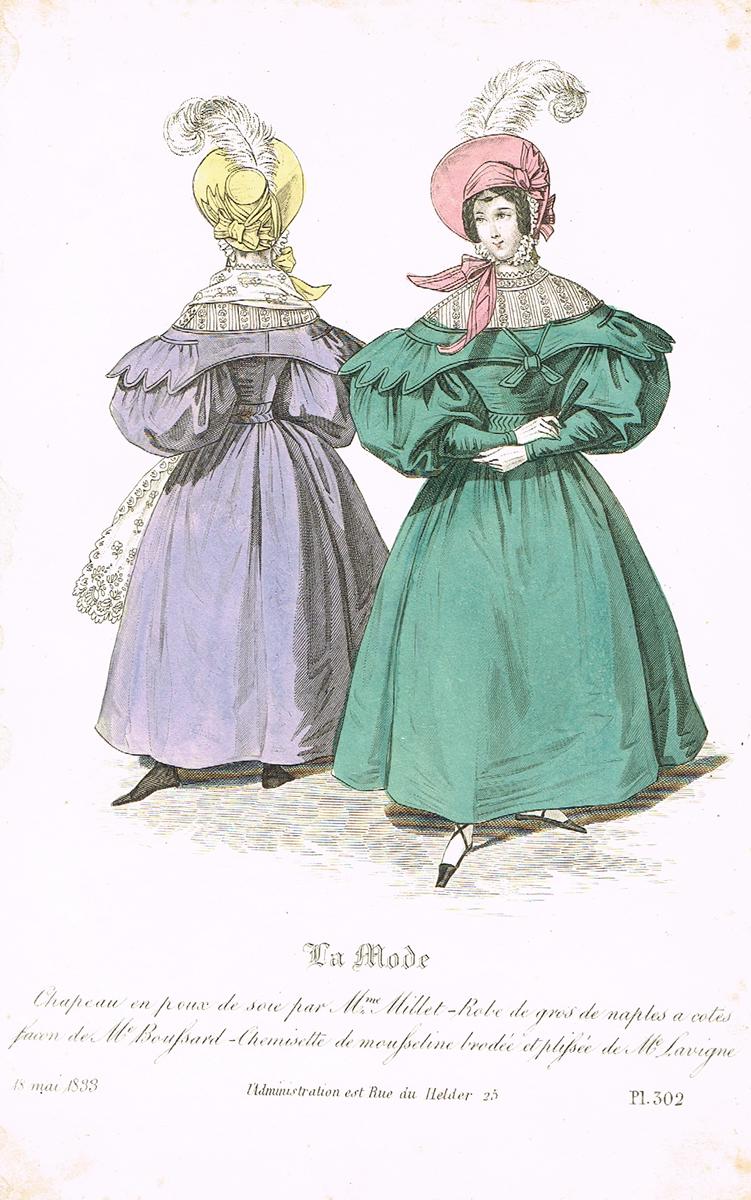 Дамская парижская мода (май 1833 года). Литография. Франция, 1830-е гг.